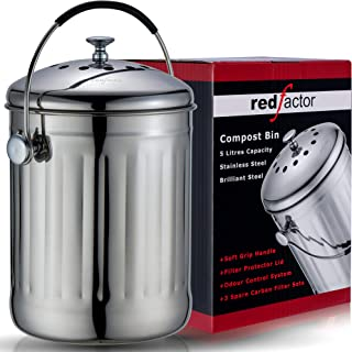 RED FACTOR Premium Seau Compost Inodore en Acier Inoxydable pour Cuisine - Poubelle Compost Cuisine - Comprend Filtres à C...