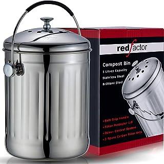 RED FACTOR Premium Seau Compost Inodore en Acier Inoxydable pour Cuisine - Poubelle Compost Cuisine - Comprend 6 Filtres à...