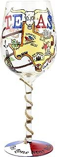 Top Shelf TS-4587A Texas Wine glass, 15 oz, Multicolored