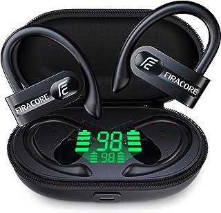 FIRACORE Auriculares inalámbricos verdaderos de 72 horas de reproducción, pantalla LED digital, auriculares deportivos Bluetooth con funda de carga inalámbrica, graves profundos, impermeables, TWS 5.1, auriculares sobre gancho para la oreja en la oreja con micrófono integrado