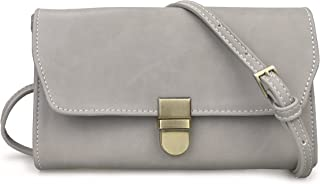 Organizer Purse Flap Top Cross Body Bag Womens Smartphone Wallet (Grey)