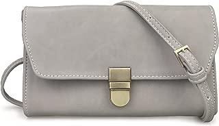 Organizer Purse Flap Top Cross Body Bag Womens Smartphone Wallet (Grey)