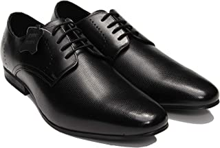 Amala Collections AU Men's Cap Toe Perforated Leather Shoes, Men's Formal Derby Lace Up Shoes