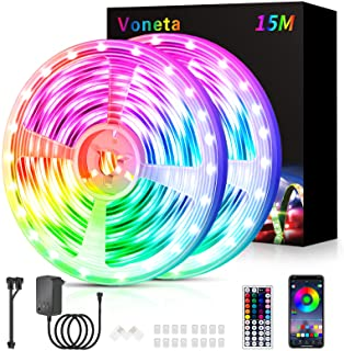 LED Strip 15M (2x7.5M), RGB LED Streifen Lichterkette, Musik Sync Farbwechsel LED Band Lichter mit Fernbedienung und App-s...