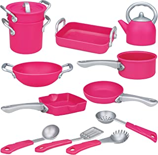 Liberty Imports Deluxe Pink Kitchen Gourmet Cookware Pots and Pans Premium Playset for Girls (13 Pcs)