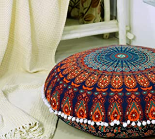 Popular Handicrafts Large Hippie Mandala Floor Pillow Cover - Cushion Cover - Pouf Cover Round Bohemian Yoga Decor Floor C...