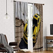 Mozenou Backtab Window Panel Bedroom Curtains Manly,Yellow Sports Car Drifting Photography Smoke Fast Speed Competition Picture,Yellow Warm Taupe W96 x L96 Inch