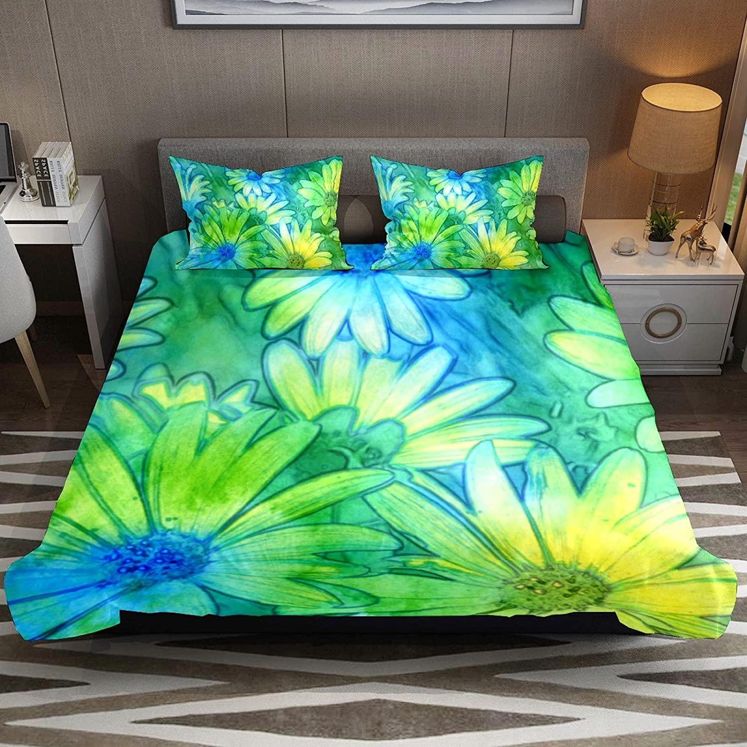 N\O Popular brand in the world 3 Piece Bedding Sets Yellow Daisies Green Blue Abstract High order Duve