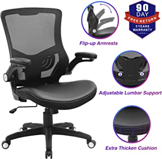 Office Chair Ergonomic Swivel Mesh Mid-Back Computer Desk Chair with Flip-up Arms Office Desk Chair with Adjustable Lumbar...