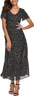 Boho Polka Dots Short Sleeve V Neck Casual Summer Beach Party Chiffon Long Maxi Dress