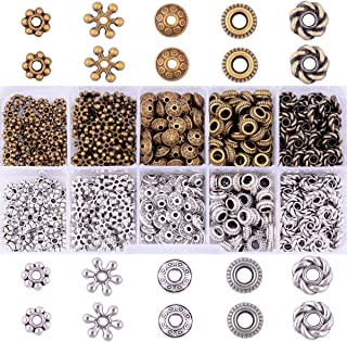 Antique Tibetan Silver Bronze Spacer Beads Box Kit 500pcs Jewelry Findings Beading Assortment Accessories DIY for Bracelet Necklace Jewelry Making (Spacer Beads)