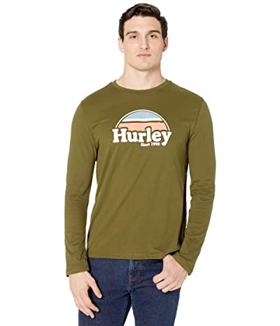Hurley Rise Jam Long Sleeve Graphic T-Shirt (Dark Olive) Men