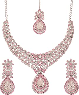 White Tone Indian Bollywood White Rhinestones Stunning Bridal Jewelry Necklace for Women