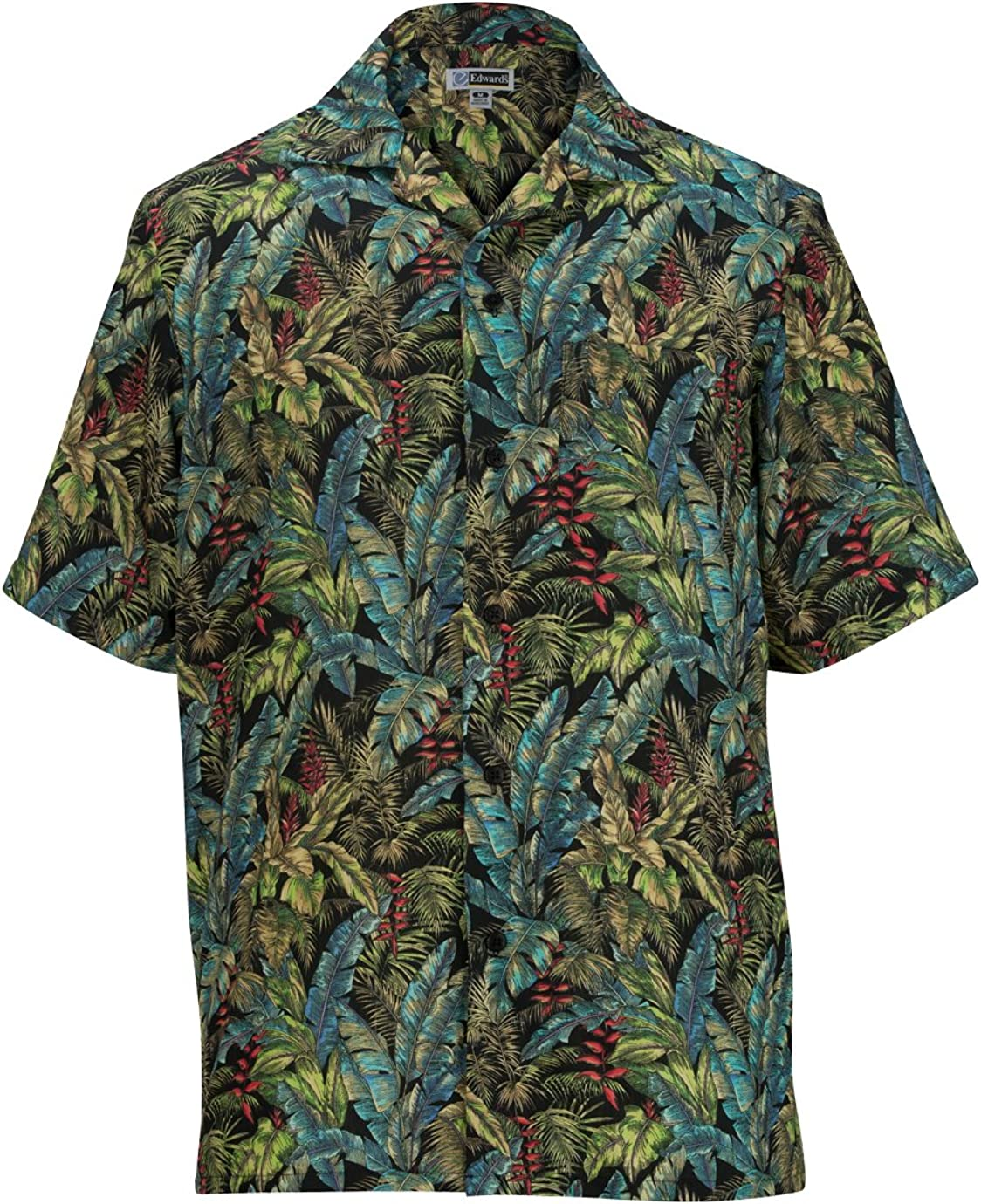Edwards Button Down Tropical Shirt Limited price sale In a popularity Leaf Camp Print