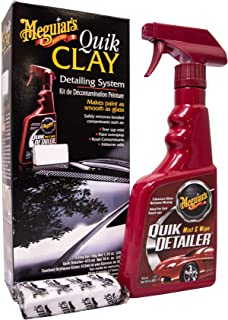 Meguiar's Quik Clay Bar Starter Kit with 80 g of Clay and 473 ml Detailer