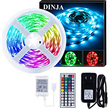DINJA LED Light Strip Rope 16.4ft 5M RGB with 44key RF Remote Control,Dimmable Color Changing Strip Lights Rope Lights for Girls Room Decor, Bedrooms,Kitchens,TV,Bar,Clubs Parties.