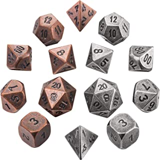 Jovitec 14 Pieces Metal Solid Zinc Alloy Game D&D Dices Set Durable Polyhedral Dice with Printed Numbers and Velvet Storage Bags for Game, Dungeons and Dragons, RPG, Math Teaching (A)