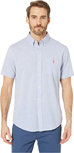 Horizontal Slub Stripe Button Down
