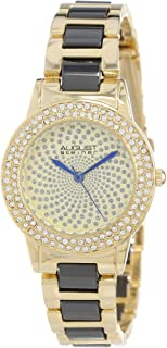 August Steiner Women's Fashion Watch with Crystal Bezel - Sparking Dial with Hands on Toneand Ceramic Band