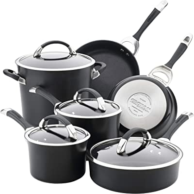 Circulon 87526 Symmetry Dishwasher Safe Hard Anodized Nonstick Cookware Pots and Pans Set, 10-Piece, Black