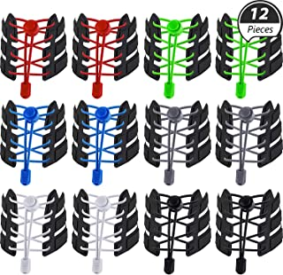 WILLBOND 12 Pairs Elastic Shoe Laces No Tie Elastic Shoelaces with Lock Device Adjustable Tieless Rubber Shoe Laces Strings Fits Adults and Kids Boots Board and Casual Shoes