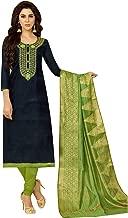 Ladyline Silk Embroidered Plain Salwar Kameez with Banarasi Silk Dupatta Indian Pakistani Dress for Womens