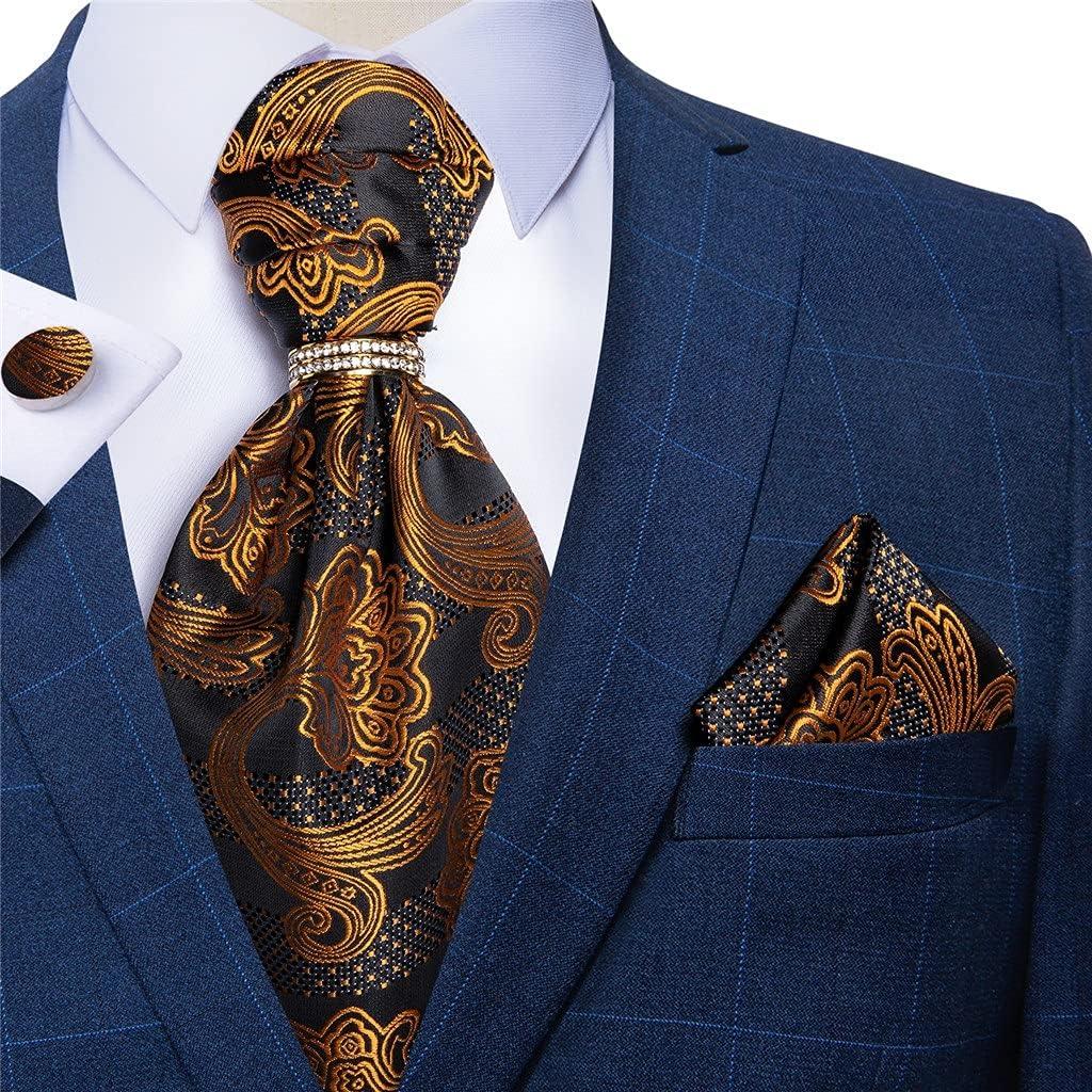 NJBYX Mens Black Gold Floral Vintage Cravat Tie Self British Gentleman Wedding Party Necktie Hanky Set (Color : Gold Floral, Size : One size)