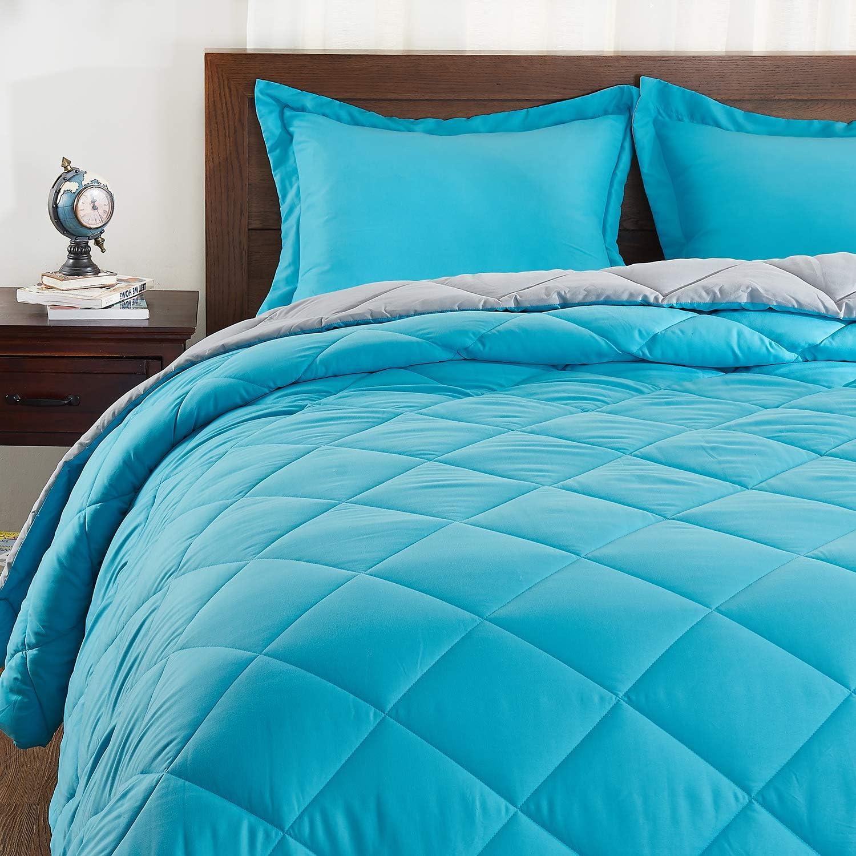 Basic Beyond Down Alternative Comforter Set (King, Peacock Grey) - Reversible Bed Comforter with 2 Pillow Shams for All Seasons