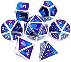 Haxtec Metal Dice Set D&D Blender Silver Blue Purple Metal DND Dice for Dungeons and Dragons RPG Games-Myth
