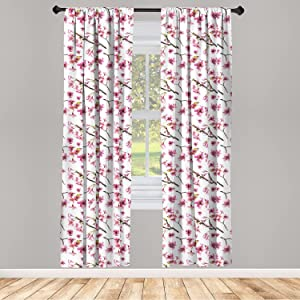Ambesonne Cherry Blossom Curtains 2 Panel Set, Watercolor Style Oriental Pattern with Sakura Branch, Lightweight Window Treatment Living Room Bedroom Decor, 56