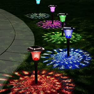UMICKOO Solar Lights Outdoor, Auto Changing Solar Pathway Colorful Bright Glass Garden Lights,Waterproof Solar Powered Landscape Lights for Lawn Patio Courtyard Walkway Yard (Set of 6)