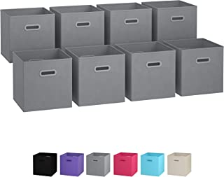 Royexe Storage Bins - Set of 8 - Storage Cubes | Foldable Fabric Cube Baskets Features Dual Plastic Handles. Cube Storage Bins. Closet Shelf Organizer | Collapsible Nursery Drawer Organizers (Grey)