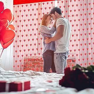 WILLBOND 4 Piezas Cortinas de Ventana de Día de San Valentín Cortinas de Encaje en Forma de Corazones Rojos para Decoración de Fiesta Compromiso Boda Día de San Valentín