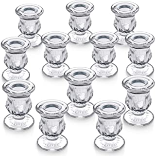 """LETINE Candlestick Holders Set of 12-2.5"""" H Taper Candle Holders Bulk - Clear Glass Candle Holder for Windowsill, Wedding & Festival"""