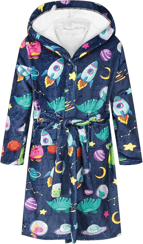 Geagodelia Kids Dressing Gown with Hood Fluffy Fleece Bath Robe Pyjamas Pjs Long Nightwear Sleepwear Bathrobe for Girls Boys