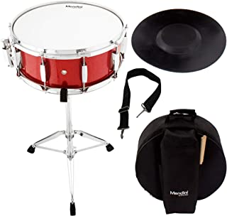 Mendini Student Snare Drum Set with Gig Bag, Sticks, Stand and Practice Pad Kit, Bright Red, MSN-1455P-BR