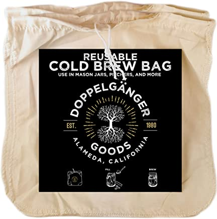 "(2 Pack) Organic Cotton Cold Brew Coffee Bag - Designed in California - Extra Large 12""x12 Reusable Filter Bags with EasyOpen Drawstring to Make Cold Brew in Pitchers or Mason Jars"