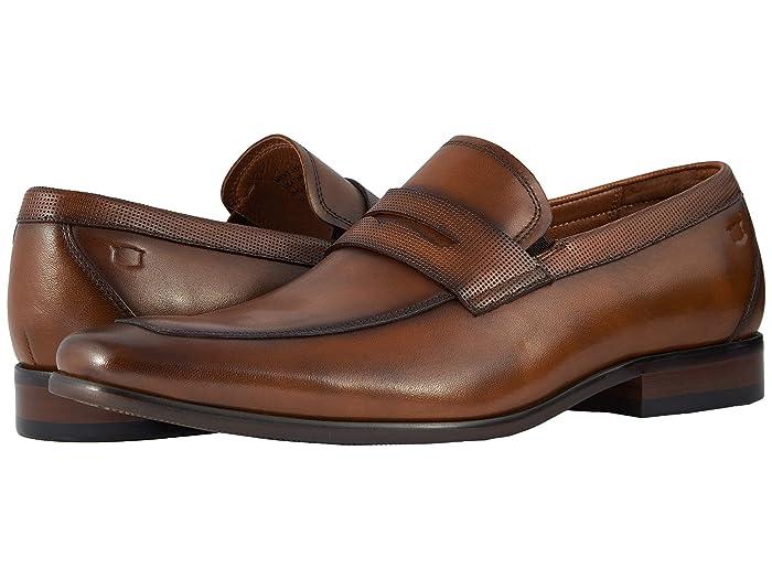 Florsheim  Postino Moc Toe Penny Loafer (Cognac Smooth/Perf) Mens Slip-on Dress Shoes