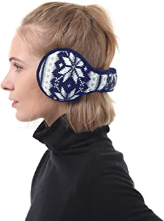 Zando Women Girls Stylish Snowflakes Knitted Ear Muffs Winter Warm Furry Earwarmers