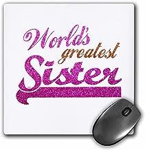 3dRose LLC 20.3x 20.3x 0.6cm لوحة ماوس ، أكبر Sister عالمي Hot Pink and Gold نص صغير مناسب أكثر شباب ً ا أو كبير Elder والأخوات (MP _ 151319_ 1)