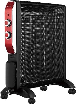 Calefactor Radiador Eléctrico Bajo Consumo con Panel de Mica hasta 2000 W Color Negro con Ruedas y Termostato