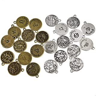 Monrocco 24 Pieces Alloy Lucky Charms Tibetan Vintage Round Zodiac Sign Charms 12 Constellation Pendants Beads DIY for Necklace Bracelet Jewelry Making, (Antique Silver,Antique Bronze)