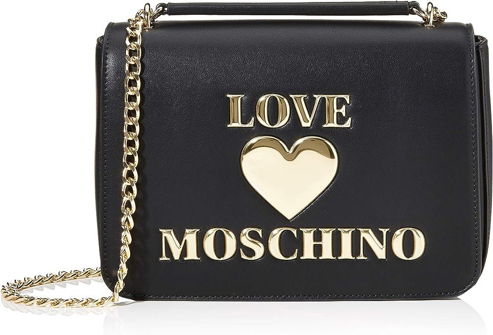 Love moschino, borsa per donna, in pelle sintetica, nera JC4035PP1BLE0A