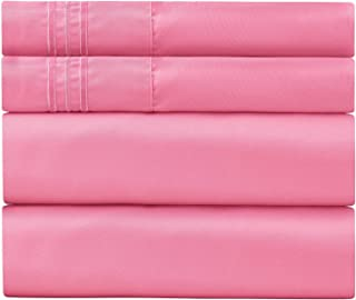 Sweet Sheets Bed Sheet Set - 1800 Double Brushed Microfiber Bedding - 4 Piece (Full, Pink)