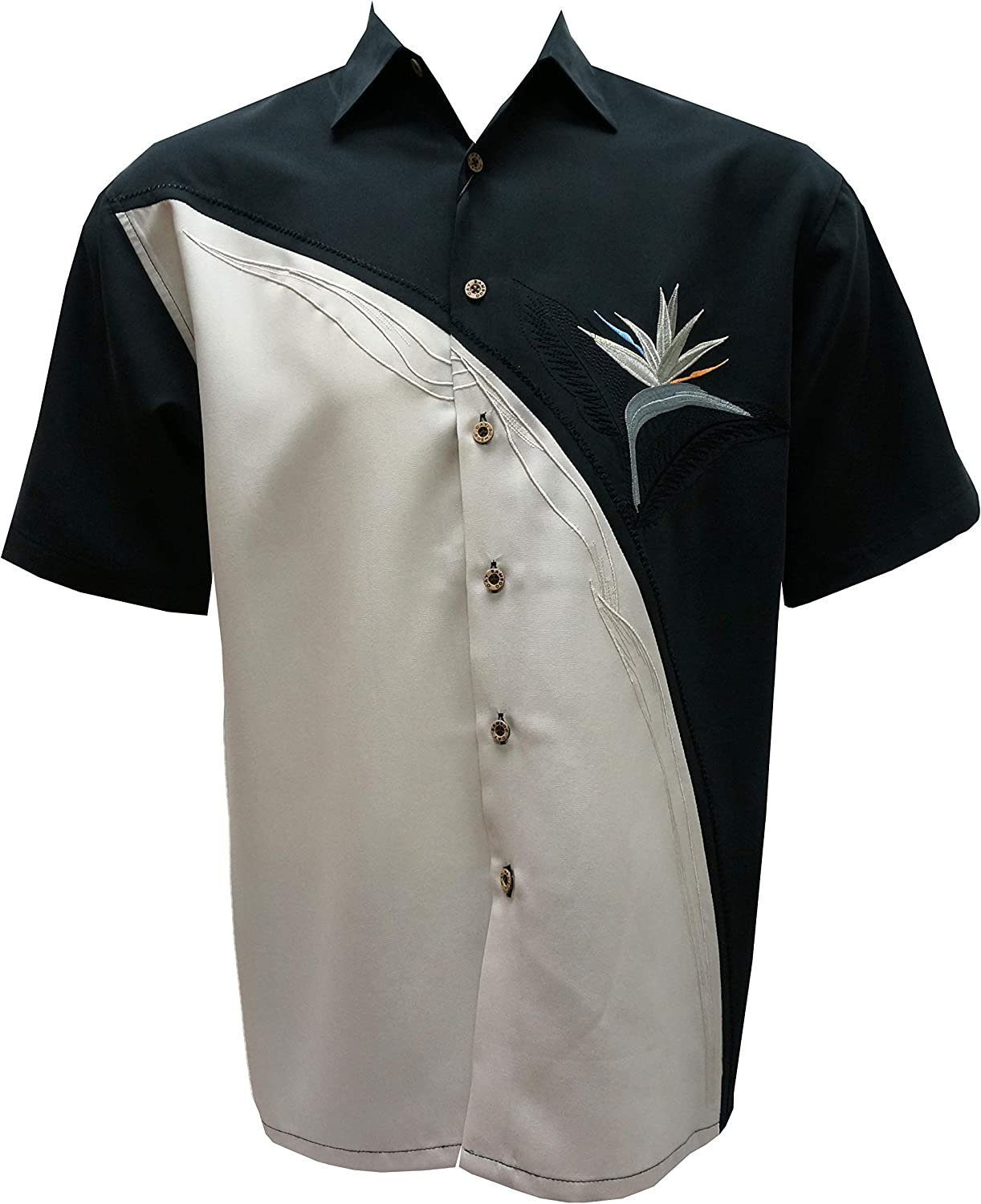 Bamboo Cay Men's Crescent Flower Tropical Hawaiian Embroidered Camp Shirt