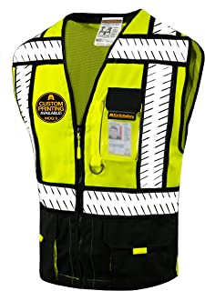 KwikSafety (Charlotte, NC) SPECIALIST (Multi-Use Pockets) Class 2 ANSI High Visibility Reflective Safety Vest Heavy Duty Solid/Mesh and with zipper HiVis Construction Surveyor Work Mens Black X-LARGE