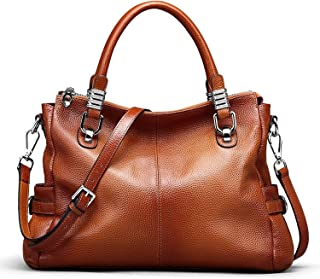 S-ZONE Women's Vintage Genuine Leather Handbag Shoulder Bag Satchel Tote Bag Purse Crossbody Bag