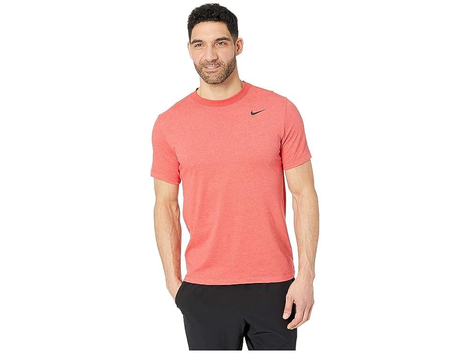 Nike Dry Tee Dri-FITtm Cotton Crew Solid (Light University Red Heather/Black) Men
