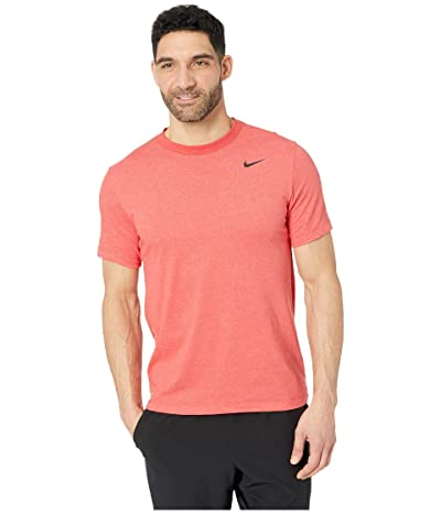 Nike Dry Tee Dri-FITtm Cotton Crew Solid (Light University Red Heather/Black) Men