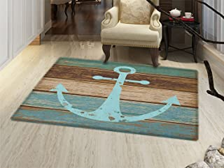 Anchor Door Mat Indoors Timeworn Marine Symbol on Weathered Wooden Planks Rustic Nautical Theme Customize Bath Mat with Non Slip Backing Pale Blue Brown Teal